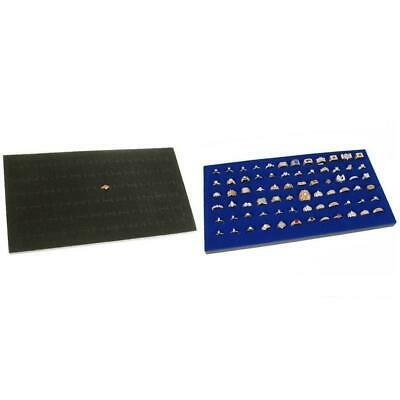 Black Blue Foam Ring Pad Jewelry Showcase Display Tray Case Insert Kit 2 Pcs