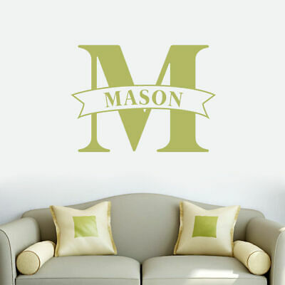 Custom Name Banner And Monogram Wall Decal - Personalized, Family,