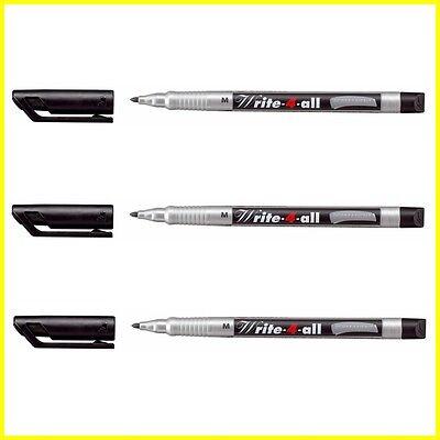 3 X Stabilo Write-4-all Marker Pen Permanent Waterproof Black - Medium M Line