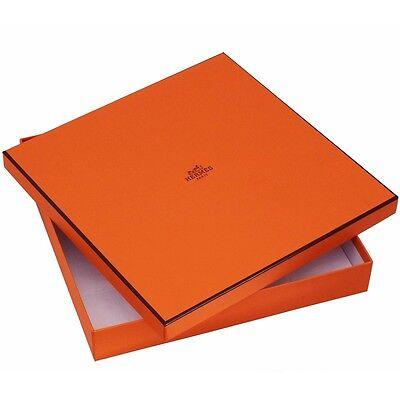"Authentic Hermes Paris Empty Scarf Box with Tissue 10.25"" x 10.25"" x 1.50"""