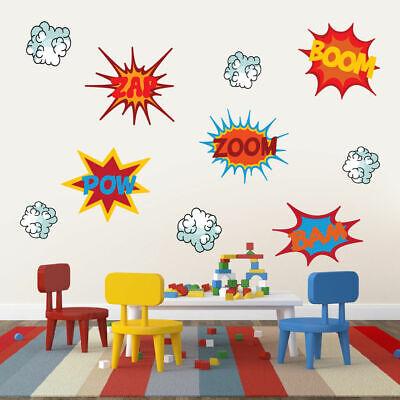 Superhero Comic Book Words Wall Decor - Nursery, Kids Room, Man Cave, Printed - Comic Book Decor
