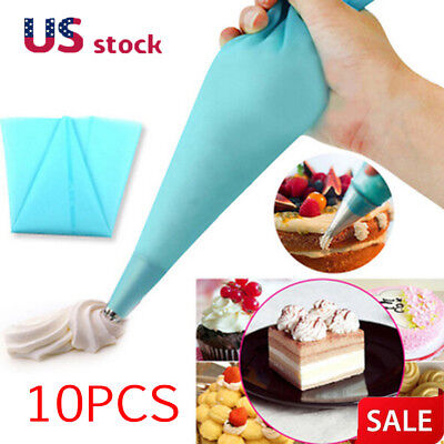 10x Silicone Reusable Icing Piping Cream Pastry Bag DIY Cake Decorating Tools (Cream Piping)