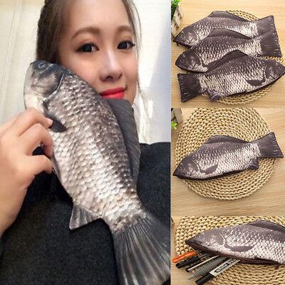 Fashion Funny Zipper Silver Carp Fish Change Purse Pencil Case Make-Up Pouch