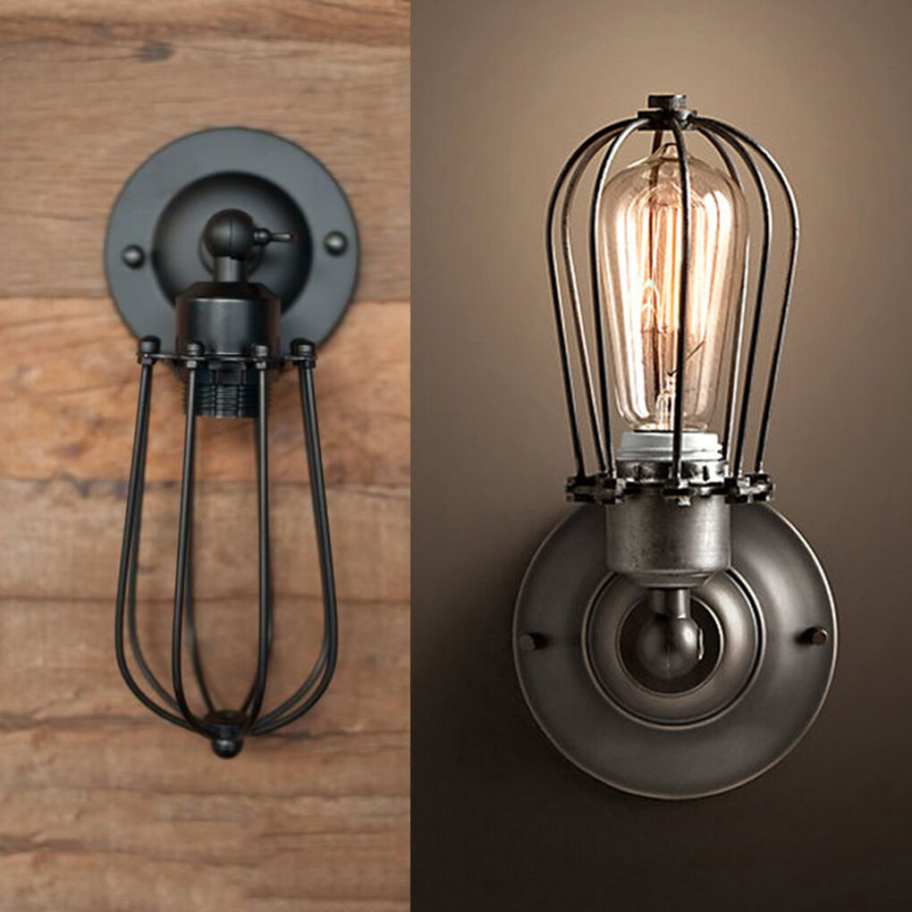 Industrial Retro Vintage Wustic Sconce Wire Cage Wall Light Fixture ...