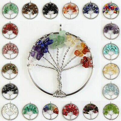 - Natural Crystal Amethyst Turquoise Chakra Chip Beads Tree of Life Silver Pendant