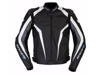 New Mens Leather Motorcycle Jacket - Spada Corsa GP - Black+White - Sizes 40-48