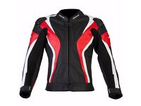 New Mens Leather Motorcycle Jacket - Spada Curve - Red - Sizes 40-48