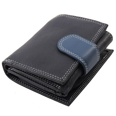 Leather French Purse Id Wallet (Genuine Leather RFID Ladies French Bi Fold Wallet - Navy ID, CC, Coin Purse )