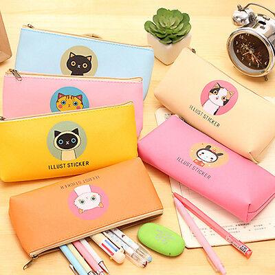 Cute Animals Pencil Pen Case Cosmetic Makeup Bag Zipper Pouch School - Animal Pencil Case