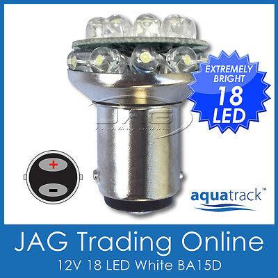 12V 18-LED BA15D WHITE GLOBE 1142 - Boat/Caravan/Auto/Anchor/Stern Light Bulb - Led Anchor Light
