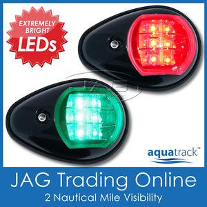 AQUATRACK LED NAVIGATION LIGHTS BLACK HOUSINGS-Port/Starboard Marine/Boat/Nav PB