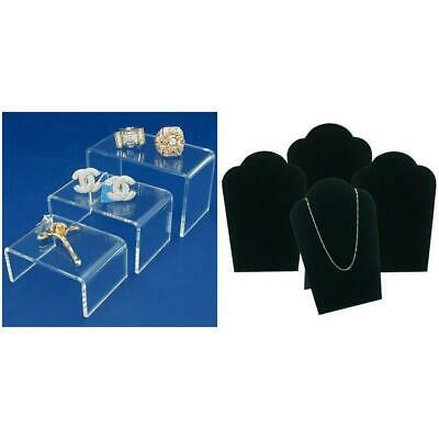 Clear Acrylic Risers Jewelry Displays Black Velvet Necklace Bust Kit 7 Pcs