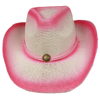 Silver Fever Fashionable Ombre Woven Straw Cowboy Hat Pink Stylish Straw Cowboy Hat
