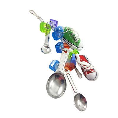 Parrot Chew Bite Toy Metal Cockatiel Spoon String Toy Hanging Bird Cage Decor