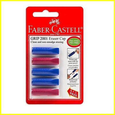 Faber-castell Grip 2001 Eraser Cap Pencils Lead Protector - 1 Pack With 5 Items