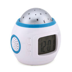 Children Bedroom Sky Star Night Light Projector Lamp Alarm Clock Sleeping Music