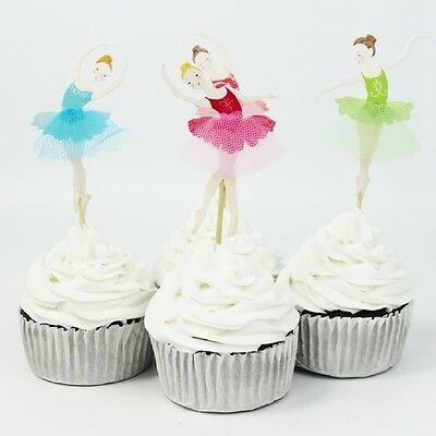 Elegant Set of 24 Ballerina Cupcake Toppers with Tulle Tutu (Elegant Cake Toppers)