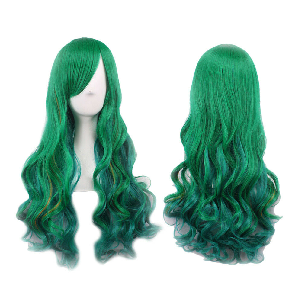 Details About 68cm Long Black Mixed Dark Green Curly Synthetic Cosplay Wig