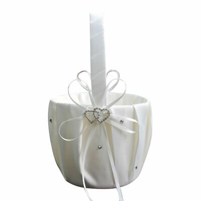 Wedding Ceremony Flower Girl Basket Double-Heart Rhinestone Decor White Satin](Wedding Baskets)