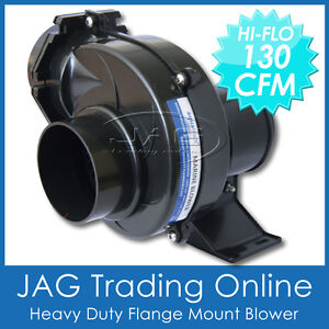 12V-AQUATRACK-BLK-130-CFM-FLEX-FLANGE-MOUNT-BILGE-AIR-BLOWER-3-HOSE-Boat-Marine