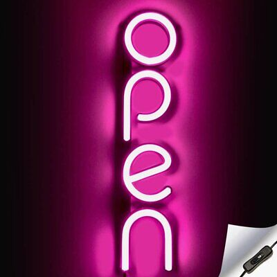 Vertical Led Neon Open Sign For Business - Pink