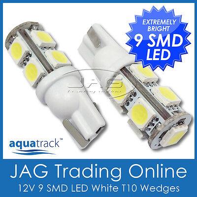 PAIR 12V 9-SMD LED T10 WEDGE GLOBES COOL WHITE- Car/Truck/RV Interior Light Bulb