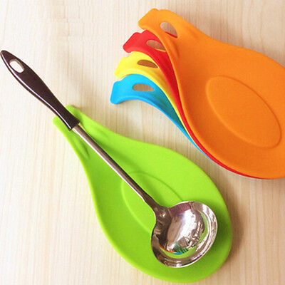 Silicone Spoon Rest Heat Resistant Kitchen Cooking Utensil Spatula Holder Tool