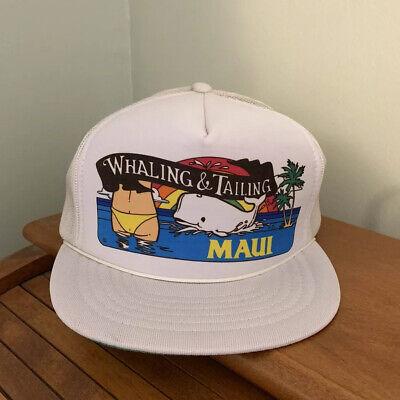 Vtg Maui Hawaii Snapback Trucker Hat Whaling & Tailing Funny Never (Maui Snapback)
