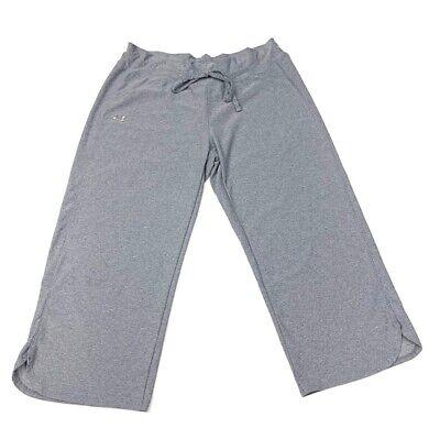 Under Armour HeatGear Womens Activewear Capri Pants Gray Heather Drawstring S