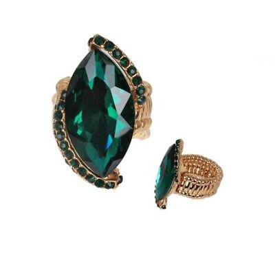 Gold Emerald Green Rhinestone Crystal Stretch Stunning Ring
