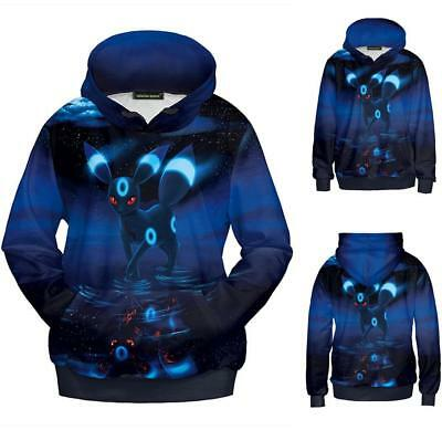 PC Pokemon 3D Umbreon Cosplay Kostüm Hoodie Paar Grafik Pullover Pullover 559
