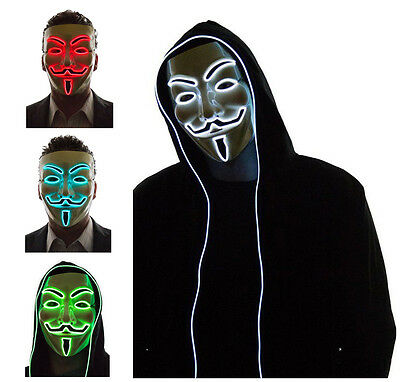El Light Up LED Mask V for Vendetta Anonymous Guy Fawkes Costume Cosplay - Cool Costumes For Guys