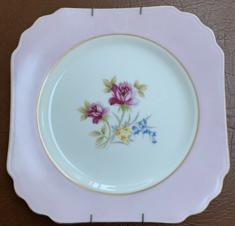 Vintage Shata China 8 1/8 Square Plate With Hanger made In Occupied Japan