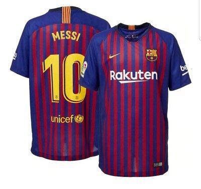 8bf23b8b0 Men s FC Barcelona Lionel Messi  10 2018 Breathe Stadium Home Replica Jersey