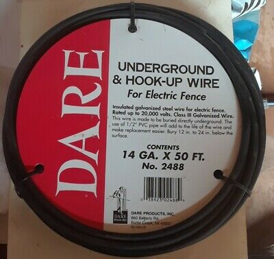 New Underground Hook-up Wire For Electric Fence Polyethylene Over Steel 50ft