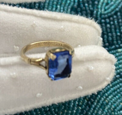 1940s Jewelry Styles and History Vintage 1940s Czech Blue glass /brass Ring signed size 6.5 $35.00 AT vintagedancer.com