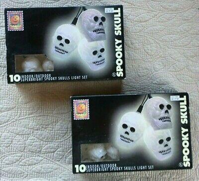 Halloween Skull String Lights (10) per Set (2 Sets) Indoor/Outdoor Blow Mold NIB