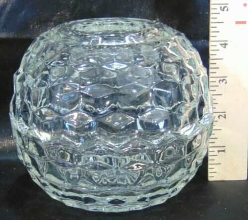 Vintage HOMCO Faceted Clear Glass Globe Fairy Light Tea Lamp
