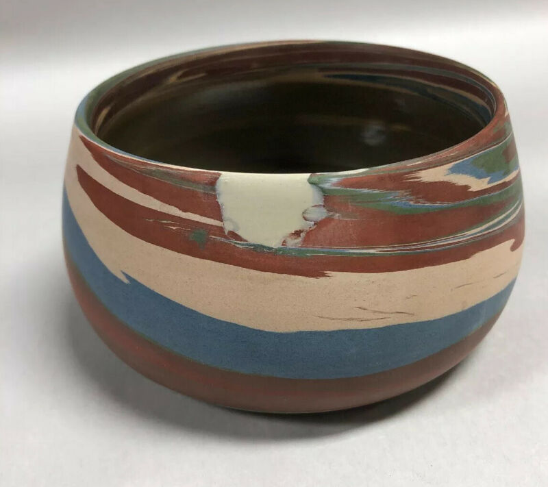 {P-7} Niloak Mission c.1925 Second Mark Pottery Missionware Bowl — Repaired
