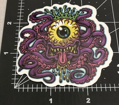 Purple Monster Octopus Skateboard Laptop Guitar Decal Sticker