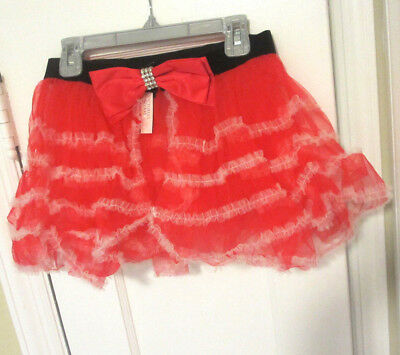 size S or L red lace mesh VICTORIA'S SECRET Sexy Santa skirt costume with bow