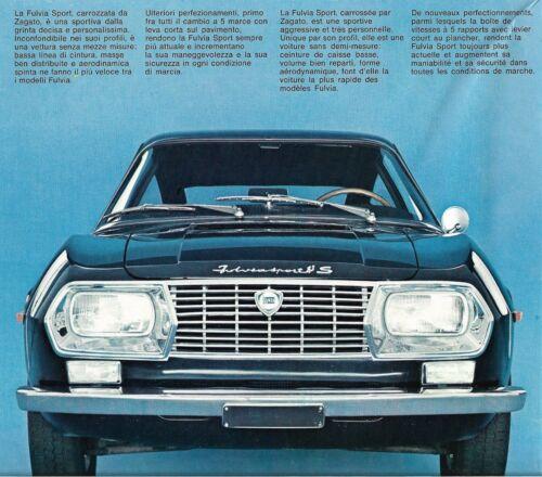 """LANCIA """"Fulvia Sport"""" by Zagato - 1298 cc - 1971 - Quadrilingual sales brochure"""