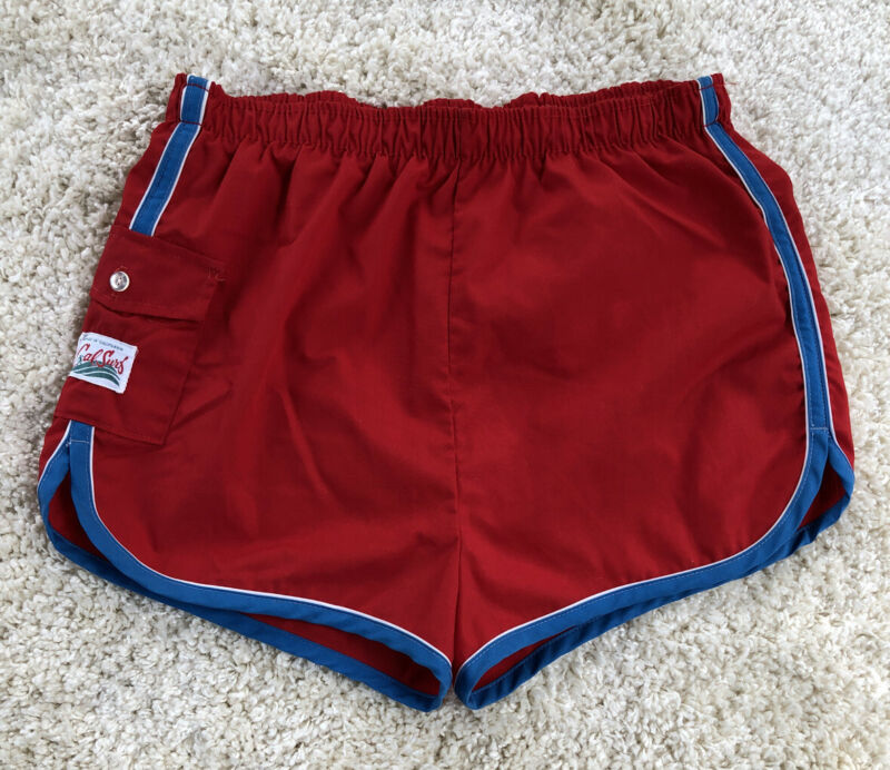Vintage 70s Cal Surf Men's X-Large Beach Swim Trunks Board Shorts Red Blue Trim