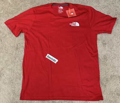 NWT🔥TNF The North Face Short Sleeve T-Shirt Red White Mens Size Large AUTHENTIC