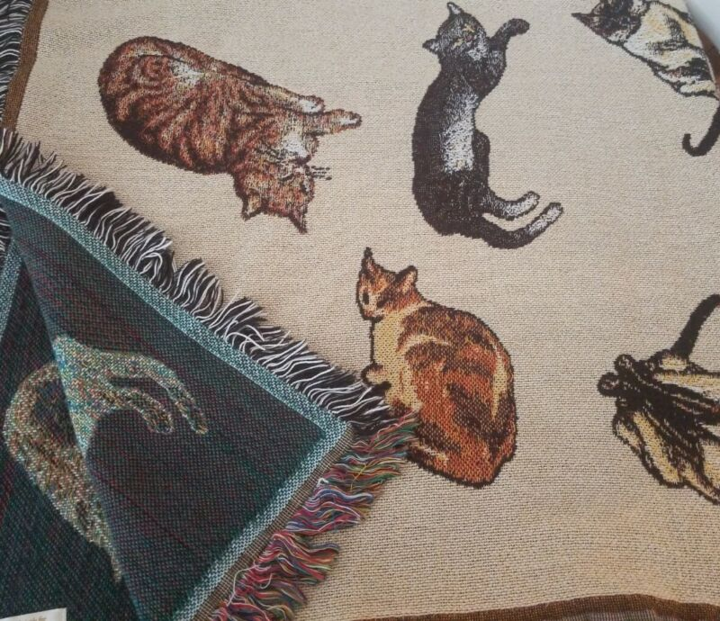 "Art Institute of Chicago Cat Design Throw Tapestry Afghan 64""L x 50""W"