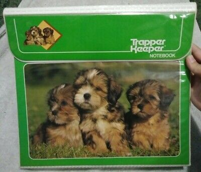 VINTAGE 80s TRAPPER KEEPER mead Binder Puppies Photography 29096 Green