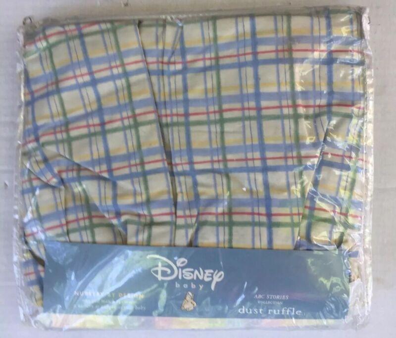 Disney Classic Pooh Baby Crib Skirt Dust Ruffle Checked Vintage 2001