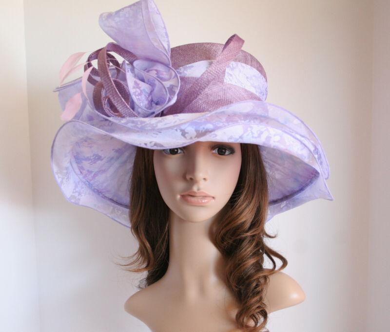 NEW Church Derby Wedding 3 Layers Sinamay & Organza Hat Multi-Color Purple