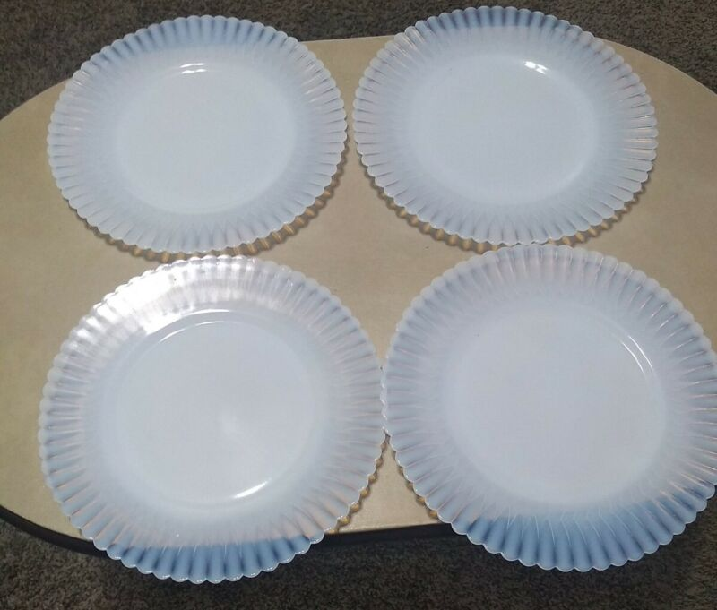 Petalware White Depression Milk Glass Small 8-in Plates Set of 4 Vintage Lot