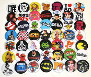 1980s RETRO PARTY BADGES x 50 Button Pins Bulk Wholesale Lot 80s